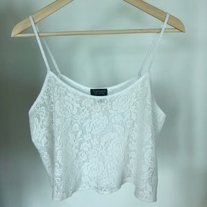 Topshop White Lace Floral Crop Tank Top